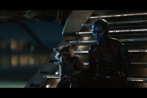 Rocket (voiced by Bradley Cooper) and Nebula (Karen Gillan)